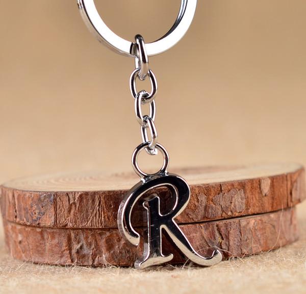 MDNEN Yeni DIY Harfler R-Z Metal anahtarlık Rodyum Kaplama Alaşım Anahtarlıklar Basit Mektup Adı Anahtarlık Doğum Günü Partisi Hediye için