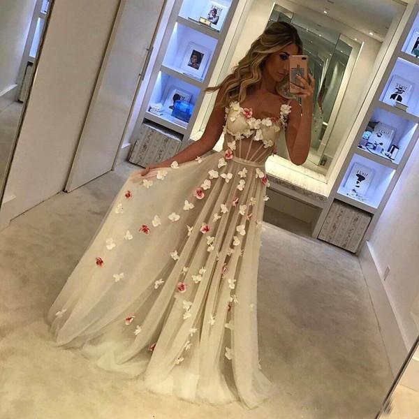 2018 una línea de vestidos de baile largo sexy correas espaguetis con flores hechas a mano tul longitud del piso ilusión blusa formal vestido de fiesta de noche