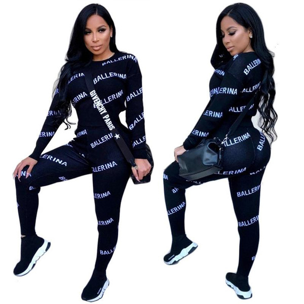 2018 Full Sleeve Winter tracksuit Women Set O-Neck Letter Print Sporting Lady fashion sexy two pieces suits casual Overall