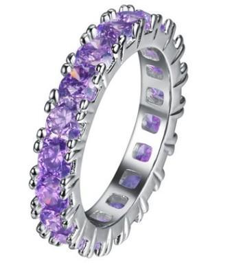 Doğal sevgilisi kalp kristal takı storne gül çiçek 925 gümüş elmas bayan yüzük (6.5) boyutu 67 8 9