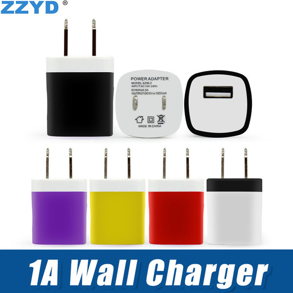 best selling ZZYD 5V 1A US USB Wall Charger Home Travel Adapter Mini USB charger For Samsung Smartphones