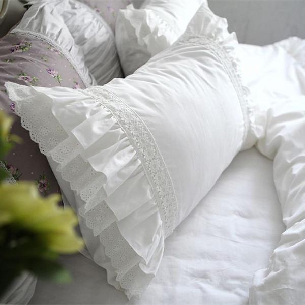 2pcs cas de luxe taie d'oreiller en dentelle brodée de mariage cas de literie taie d'oreiller textile à la maison oreiller Sham aucun remplisseur