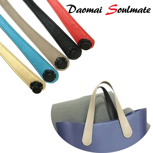 Short Size 47cm 1 pair of Colorful flat Faux Leather handles For Obag Women's Bags Shoulder Handbag O Bag Manici Silicon Bag