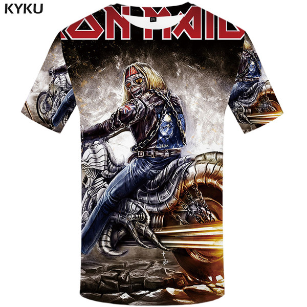 Marca al por mayor-KYKU camisa de la virgen de la camisa de la camiseta de la camiseta de la camiseta del cráneo de la camiseta de los hombres camiseta gótica Tops ropa de la roca ropa de la motocicleta Punk