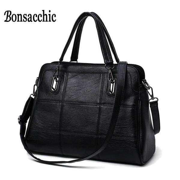 Bonsacchic Fashion Ladies Hand Bag Women 'S Genuine Leather Handbag Black Leather Tote Bag Bolsas Femininas Female Shoulder Bag