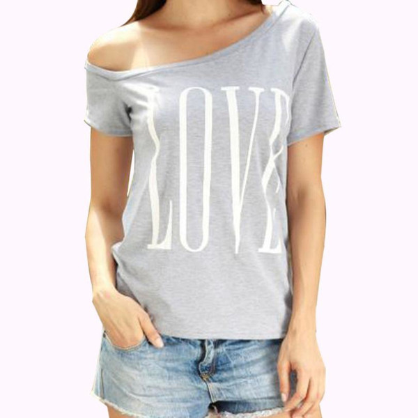 Summer New fashion t-shirts Women Love Printed Top Ladies Short Sleeve T Shirt Off Shoulder Casual kawaii Tee#6151