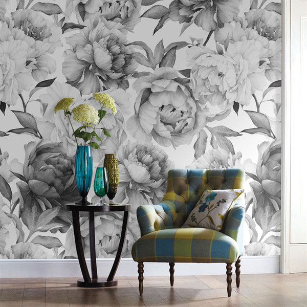 Wholesale-Grey black and white floral custom 3D wall paper mural on the wall wholesale for office living room meeting room