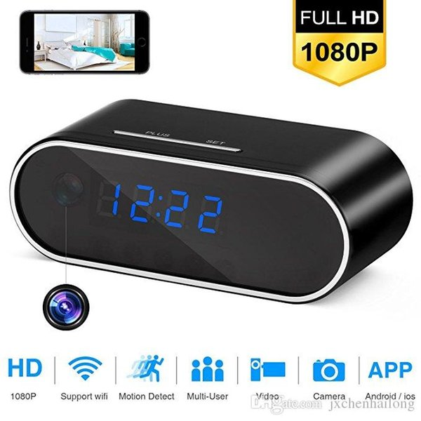HD 1080P Wifi Camera Table Alarm Clock Night Vision/Motion Detection/Loop Recording Home Security Mutil-function Clock Camera