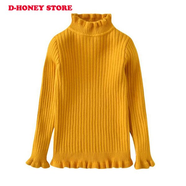 2018 New Baby Children Clothing Girls Candy Color Knitted Sweater Kids Spring Autumn Cotton Outer Wear Girl Pullover