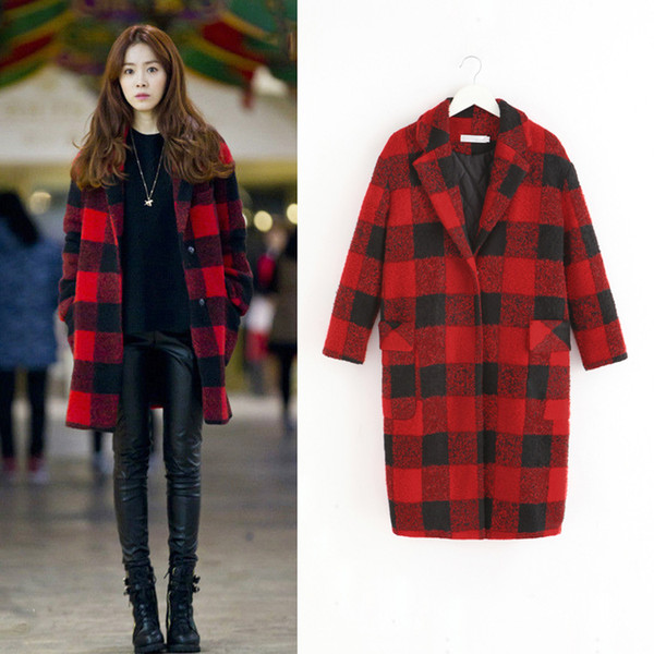Autumn Winter Women Red Plaid Cardigan Fitted Trench Coat Check Loose Korean style woolen Long Sleeve Lady Lapel Slim Long Jacket Outerwears