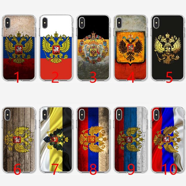 Russian coat of arms Flag Soft Silicone TPU Phone Case for iPhone 5 5S SE 6 6S 7 8 Plus X XR XS Max Cover