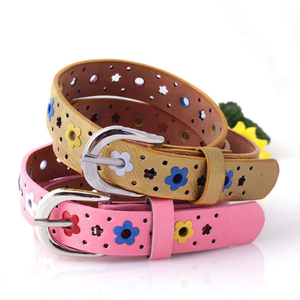 Candy Color PU Child Belt Cute Buckle Designer Children's Belt for Boys Girls Blue Red Black Pink Yellow Belts 2018 New Arrival
