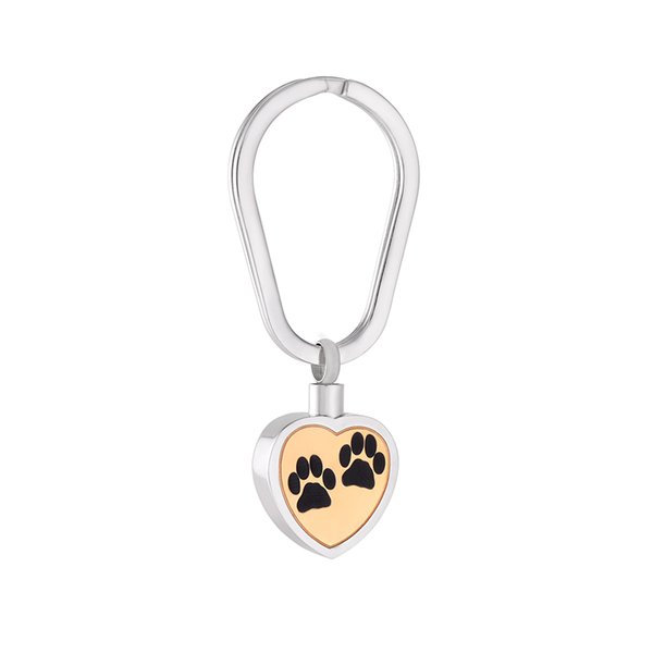 Fashion Stainless Steel Heart Shape Paw Print Cremation Keyring for Urn Ashes Memorial Souvenir for Men and Women Jewelry IJK2062