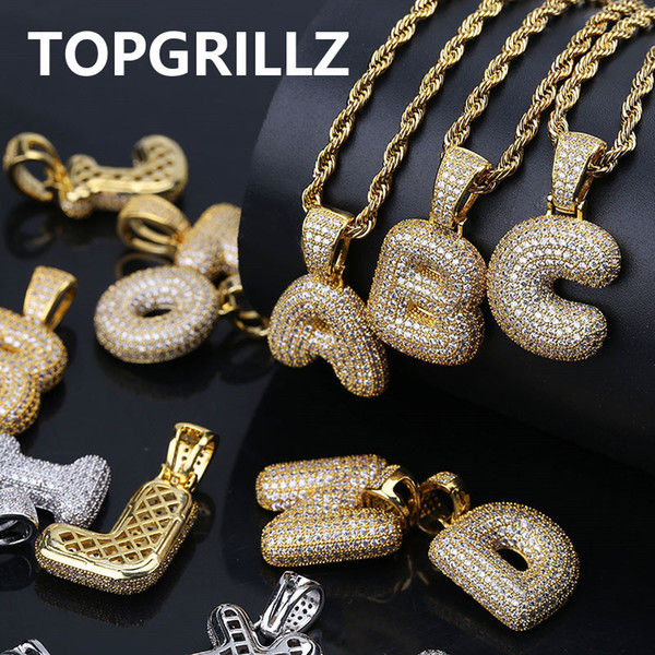 Topgrillz a z cu tom bubble letter pendant for men n women micro pave cubic zircon diy hip hop necklace with rope chain, Silver