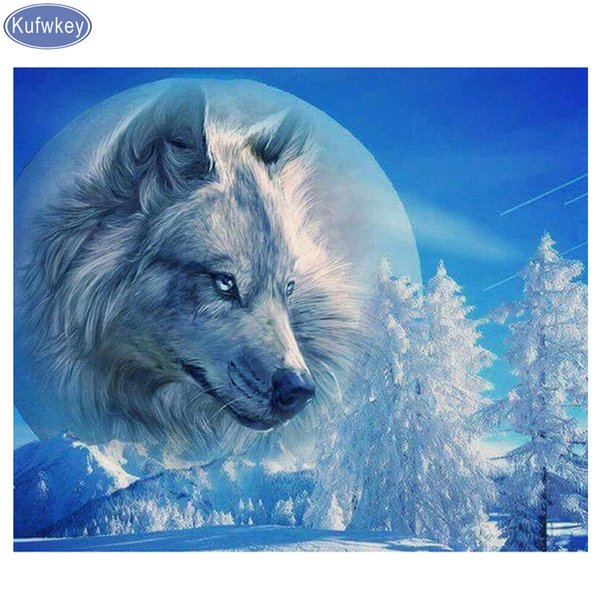 Stickers,Mosaic Diamond embroidery crafts,5d,diy,Full square drill resin,Diamond Painting Cross Stitch Snow wolves 3d pictures
