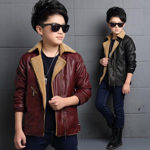 kids fur leather jacket gentleman solid zip jacket coat for 4-14years children boys girls thick warm outerwear coat