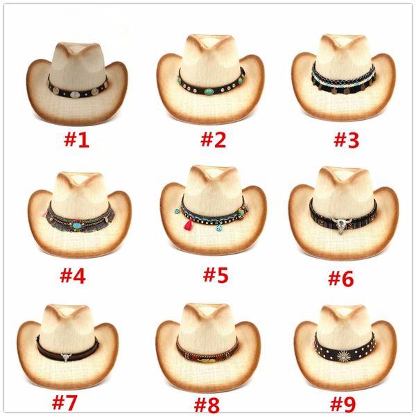 Moda mujer paja sombrero de vaquero con banda de cuero Punk para Lady  Western Sombrero Hombre vaquera Jazz Caps tamaño 58 CM eb8b8b5bb8e