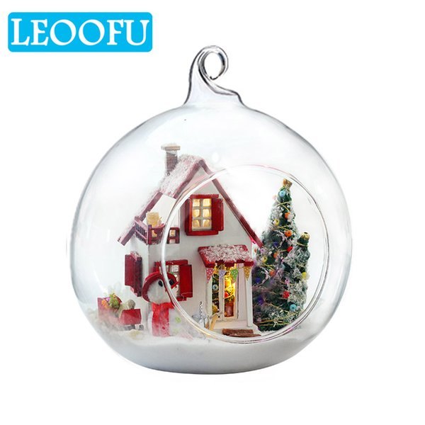 LEOOFU small and beautiful diy glass ball doll house model furniture handmade wooden miniature assembling dollhouse toy gift