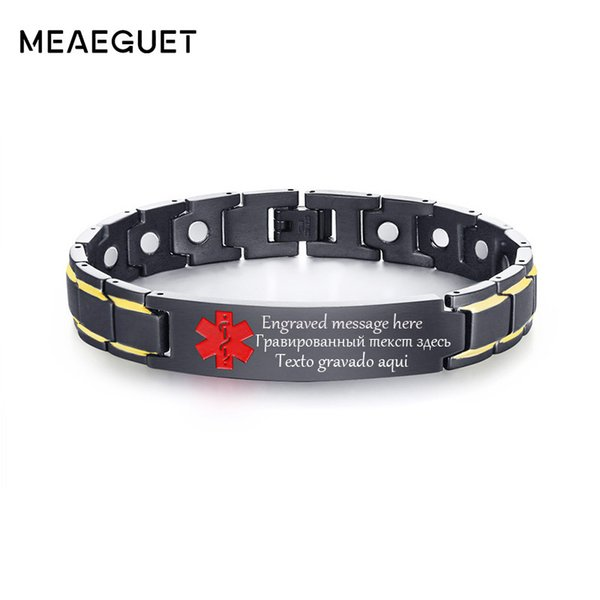 Personalized Men's ID Bracelet Stainless Steel Health Magnetic Therapy Healing Magnet Bangle Custom Text Male Power Jewelry