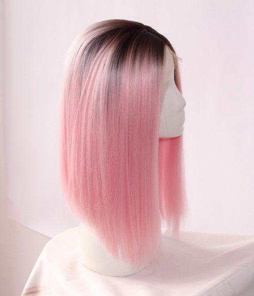 MHAZEl short bob ombre pink synthetic front lace wig short dark roots for african american woman