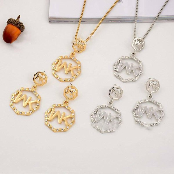 Promotion Europe And The United States Big Gold M Letter Octagonal Diamond Necklace Pendant Earrings Jewelry Two Pieces On Sale Jewelry Set