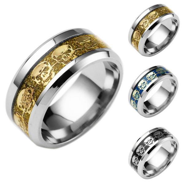 Hot Rings For Men Gift Mens Jewelry Never Fade Stainless Steel Skull Ring Gold Filled Blue Black Skeleton Pattern Man Biker