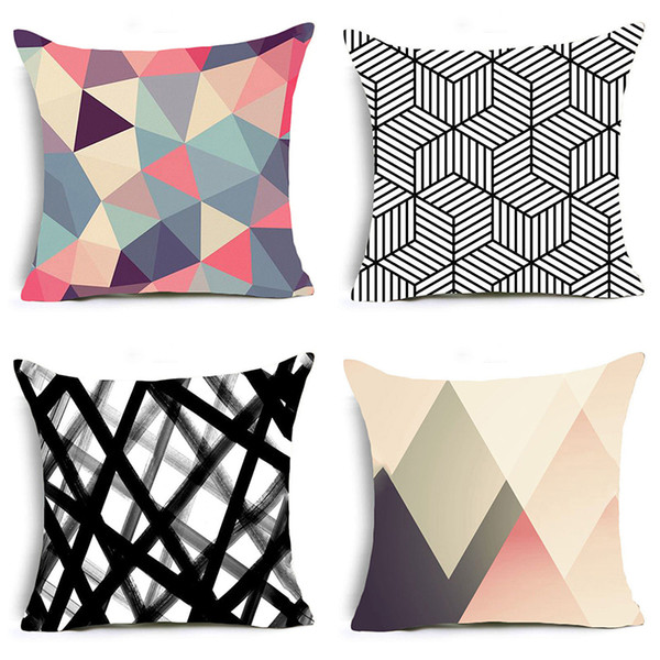 Comfortable Travel Sleeping Pillow Case Colorful Geometric Pizzle Pattern Pillow Covers Chair Livingroom Cushion Cover Set of 4