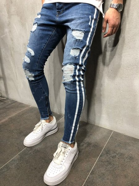 Kanye West Mens Blue Denim Ripped Side Striped Jeans High Street Slim Fit Pencil Pants with Holes