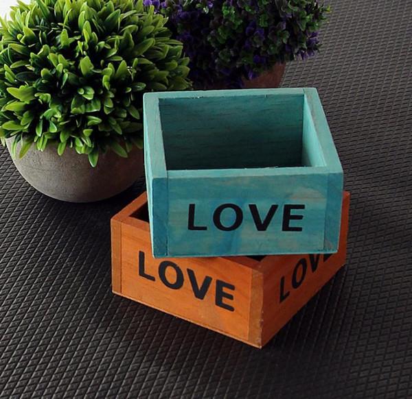 Retro Flower Pots Succulent Plant Box Square Mini Jewelry Storage Boxes LOVE Letter Wooden Garden Pot High Quality SN594