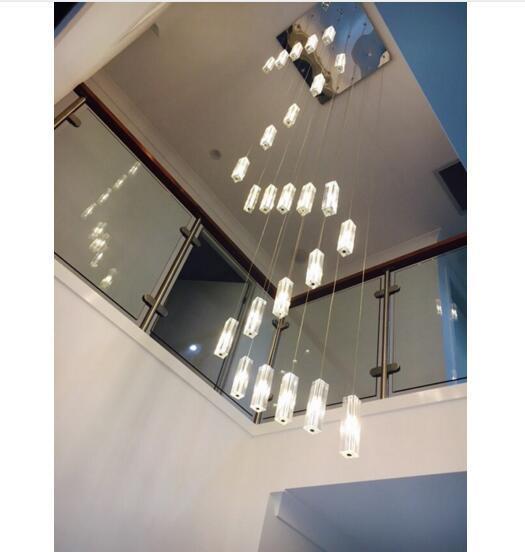 Acheter Svitz Cage D Escalier 20 G4 Led Lustre Eclairage Moderne Led Longues Lampes Suspendues Lampes D Escalier En Spirale Suspensions Grande Lampe