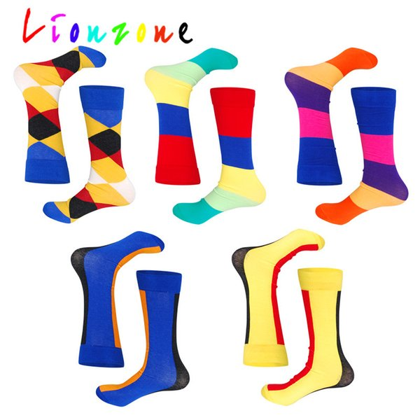 LIONZONE Warm Long Socks For Plus size Color Striped Lattice Straight Tube Style Combed Cotton Hip-Hop Happy Socks Funny