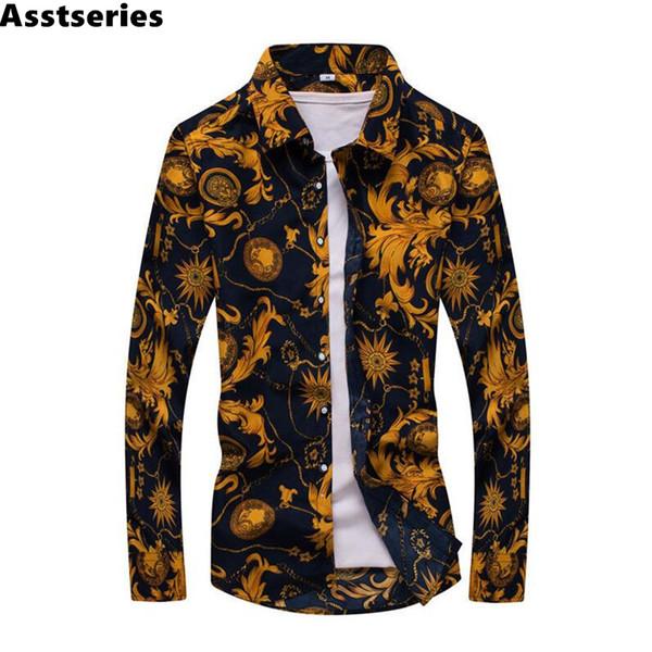 Nueva primavera de los hombres camisas casuales de moda de manga larga marca impresa Button-Up formal de negocios de lunares hombres florales camisa de vestir