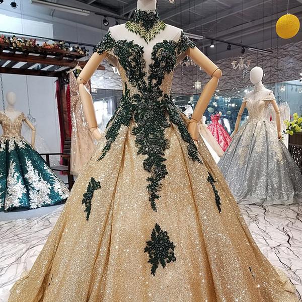Compre 2019 Vestidos Dorados Brillantes Por La Noche Encaje Cariño Juliet A Line Lace Up Detrás Del Hombro Moda Bling Bling Vestidos De Fiesta