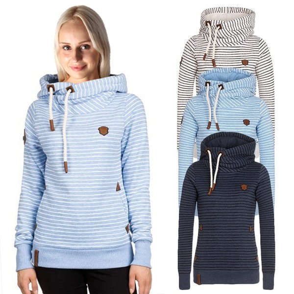 Women Autumn Winter Hoodies Thick Striped Pullover Hooded Hoodies Long Sleeve Casual Loose Embroidery Sweater Plus Size Women Sweatshir