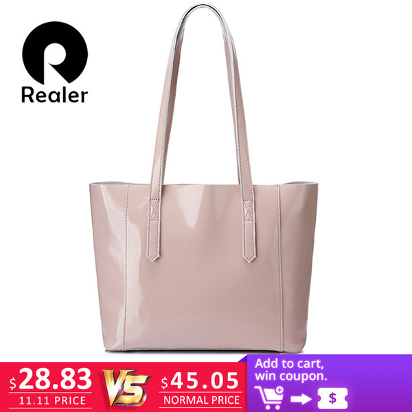 2019 Fashion REALER shoulder bag women soft patent leather tote bag female large crossbody messenger bags scratch resistant design handbag