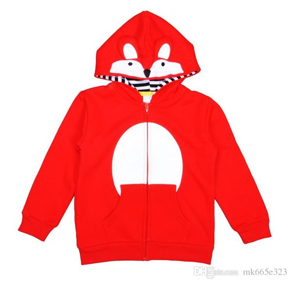 Fox Baby Clothes Girls Boys Outwear Fashion Cartoon Animal Long sleeve Hooded Red Coat Spring Fall Kids Jacket Children Clothing