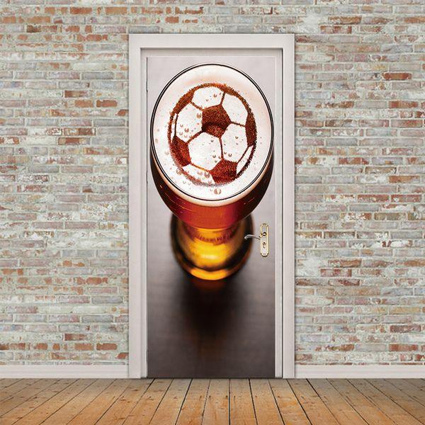 Hot Sales New Soccer Door Sticker Football Beer Wallpaper PVC Poster Sports Home Decoration Mural Boys Kids Room Waterproof Art Vinyl Decal