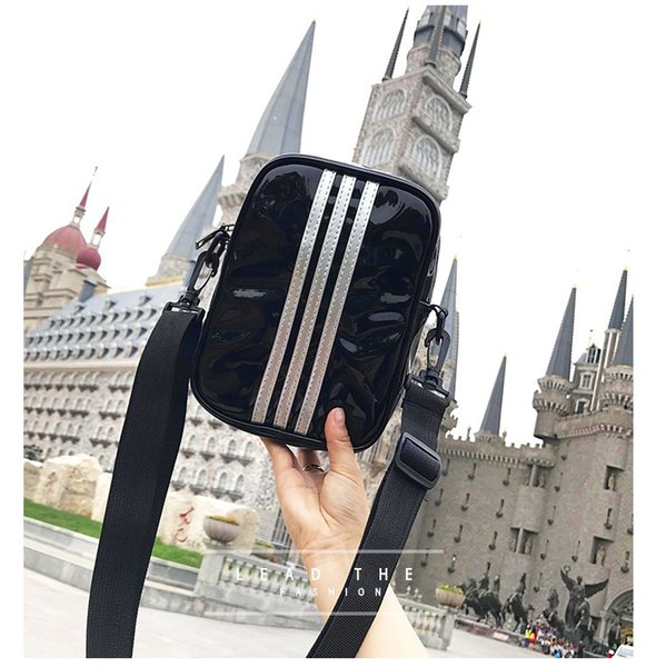 New Fashion Women Waterproof Leather Simple Stripes Single Shoulder Bag Mini Bag Casual Wallet Travel Pack Crossbody Package