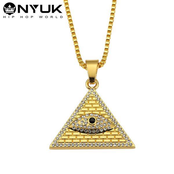 18 Karat Gold Männer Frauen Iced Out Kristall Evil Eye Anhänger Ägyptische Pyramide Halsketten Dreieck Porträt Bling Bling Schmuck