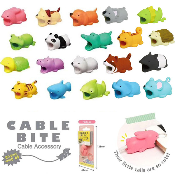 Cable Bite Charger Protector de cable Cubierta protectora para iPhone Iluminaciones Diseño animal lindo Cable de carga protectora