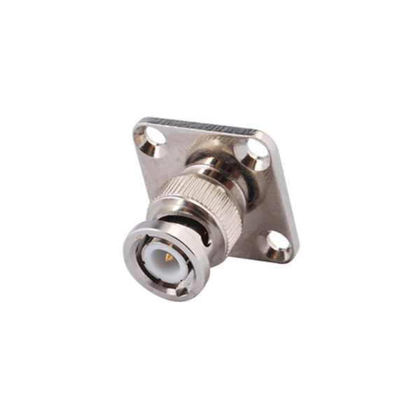 BNC Male 4 Hole Panel Mount Plug Male with Solder Cup Wide Flange RF Connector BNC Male PCB Solder Adapter