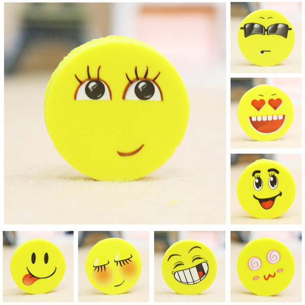 2.5CM Lovely smiling face Emoji Eraser Cute Rubber Correction Pencil0 Erasers Student Stationery School Supplies Kids Gift 4pcs/bag