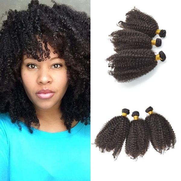 Capelli crespi indiani crespi 3pcs tessuto dei capelli pacchi colore naturale spedizione gratuita Remy Bundle di capelli FDshine