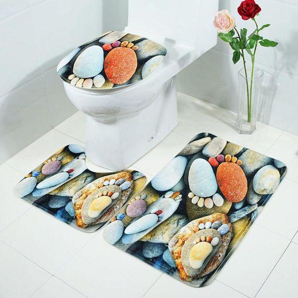 3pcs/set Anti Slip Water Absorb Floor Rug Carpet Bathroom Mat Polyester Toilet Mat for Three Sets of Bath Mat Home Decor