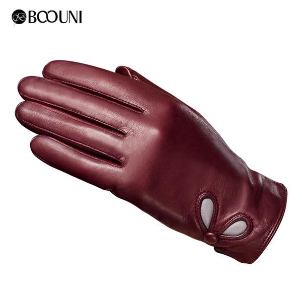 Women's Genuine Leather Touch Screen Lady Winter Warm Sheepskin Mittens Girls Full Finger Plus Velvet Gloves Drive B-6016 D18110705