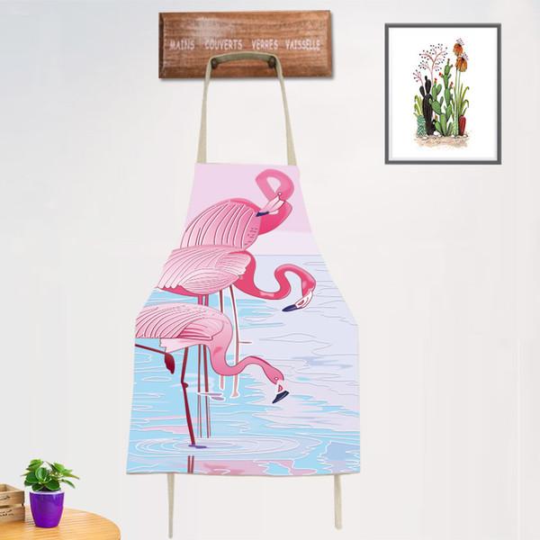 DoreenBeads 56 * 68 cm 1 STÜCK Coon Leinen Flamingo Schürze Antifouling Sleeveless Schürze Reinigung Küche Bäckerei Kaffee Milch Shop BBQ