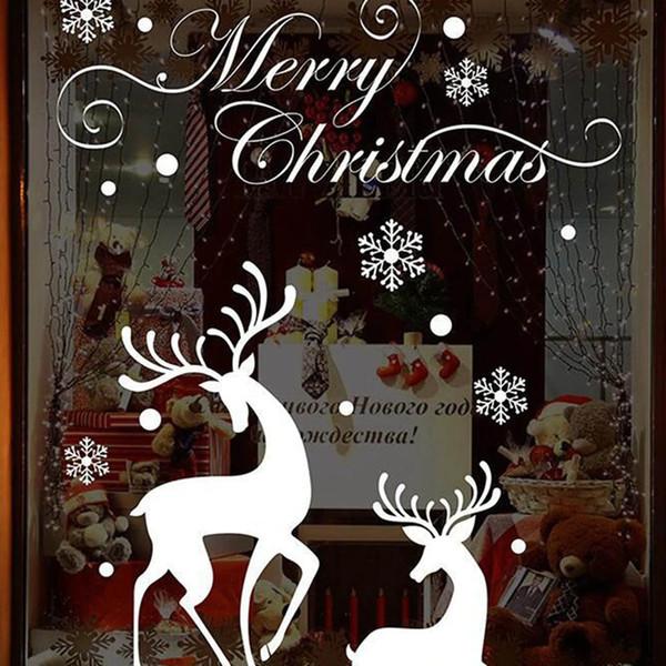 Fai da te Biancaneve Alci Natale Adesivi murali Vetrofanie Decalcomanie Babbo Natale Capodanno decorazioni natalizie per la decorazione domestica