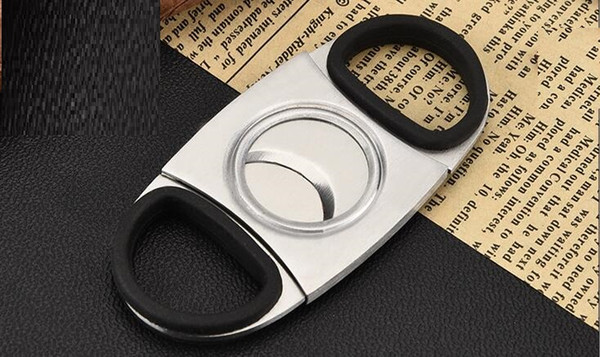 free shipping USA NEW silver Cigar tobacco Smoking Accessories Double Blades Cigar Cutter Knife stainless steel cigar Scissors cutter Shears