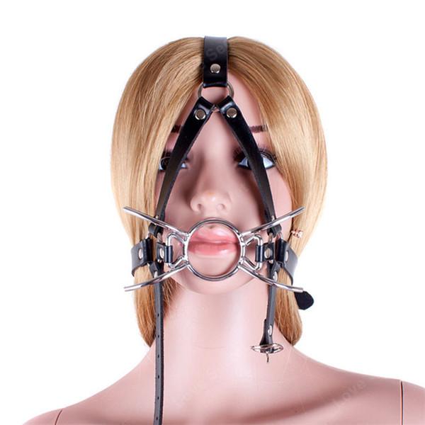 Metal Spider Open Bocca O Ring Gag Head Harness Mask nei giochi per adulti PU Leather Bondage Restraint Pompini Sex Toys for Couples