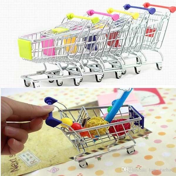 Mini Supermarket Handcart Shopping Utility Cart Mode Storage Basket Desk Toy New Collection Free DHL XL-T34